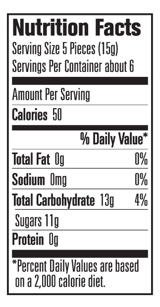 Nutritional Information for Sour Candy Banks