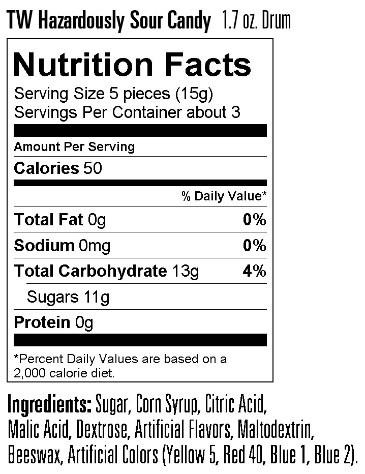 Nutritional Information for Sour Candy Drum