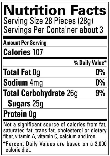 Nutritional Information for Sour Smog Ball Bags