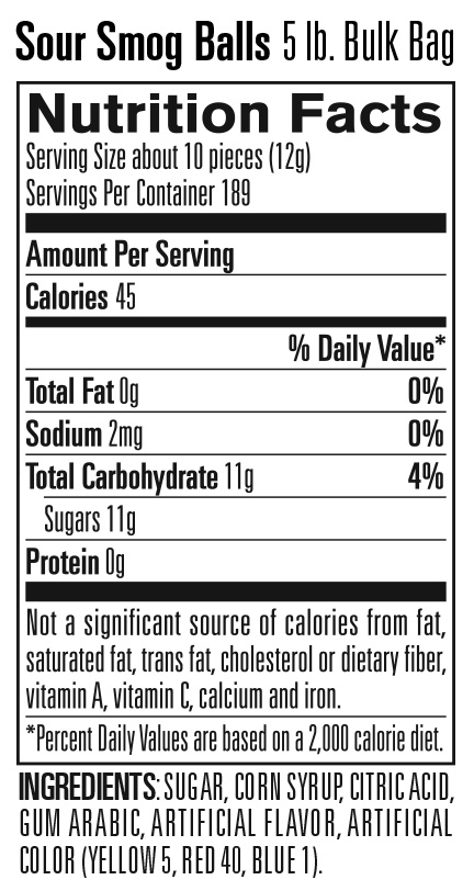 Nutritional Information for Smog Balls – Bulk