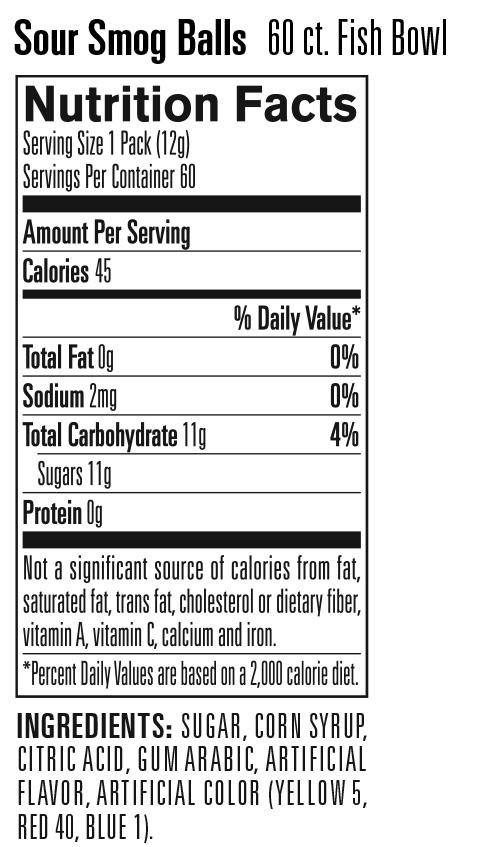 Nutritional Information for Smog Balls – Fishbowl