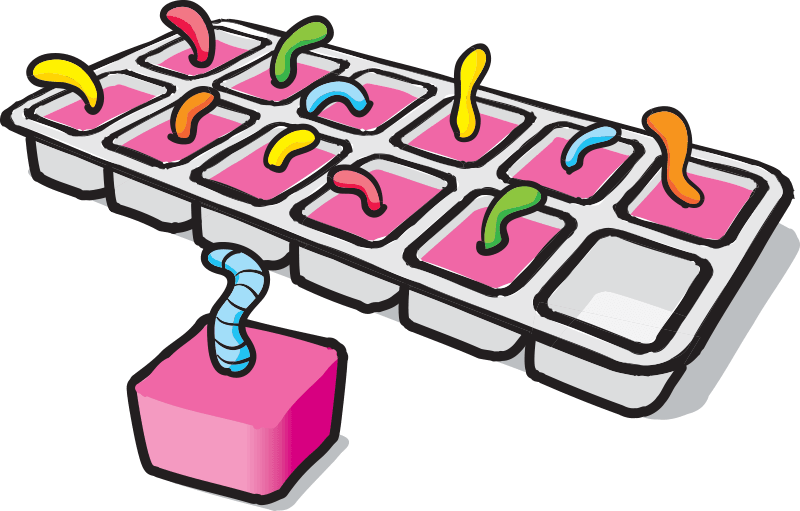 Sour Worm Ice Cubes