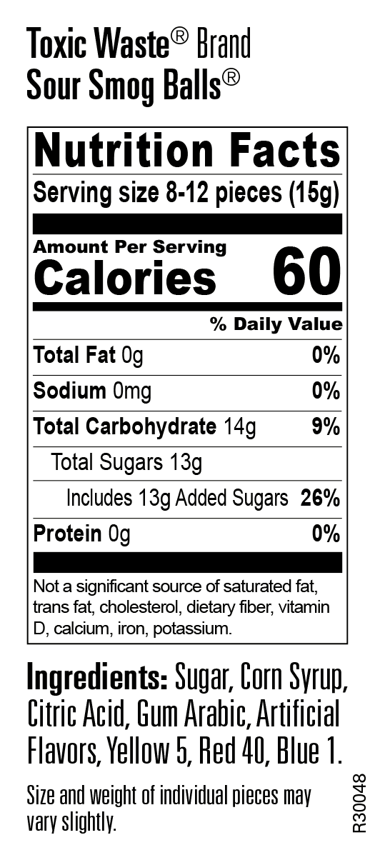 Nutritional Information for Smog Balls 3 Ounce Bags