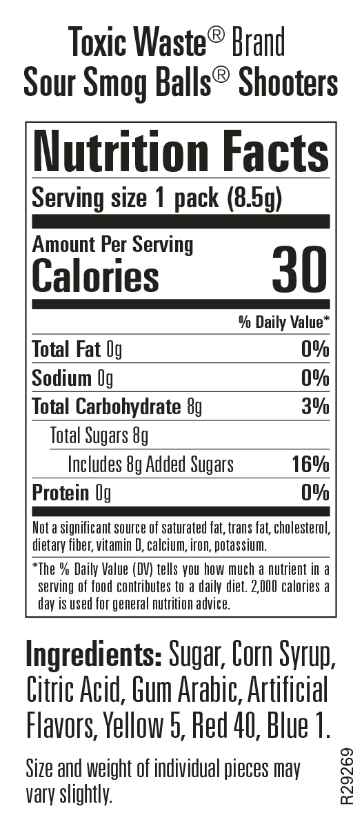 Nutritional Information for Sour Smog Balls Shooters 240 CT. Bag
