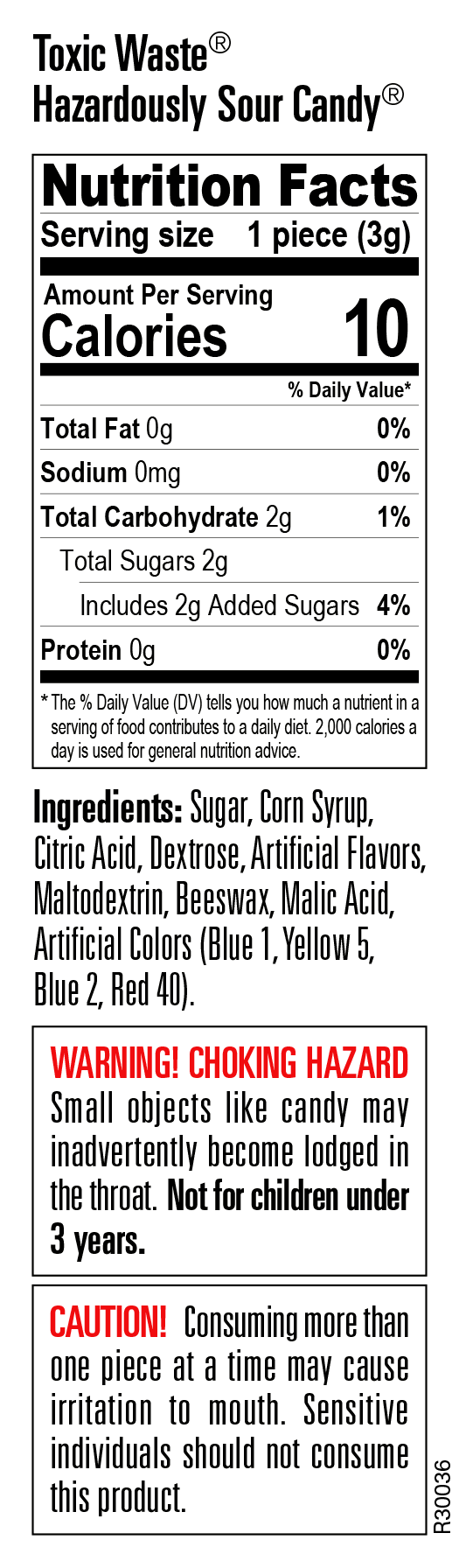Nutritional Information for Toxic Waste Candy Tie Dye Bank